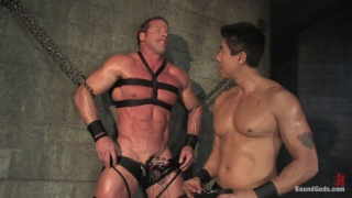 Big muscle guy tied up