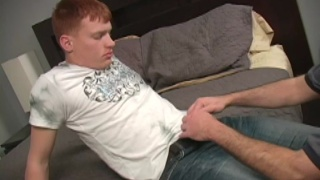 Redhead Marine's first gay blowjob