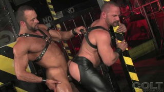 Hairy men in leather fuck