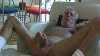 Daddy Johnny Jerks His Old Cock