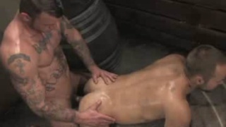Tattooed rough top fucks hairy hole