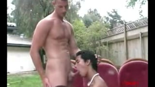 cute Asian sucks white cock