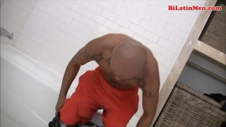 Bald Latino Jacking his Dick