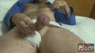 Hung Hairy Daddy Jacks Off