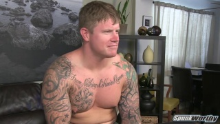 Blond stud gets muscles worked and cock jerked