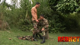 Latino Soldiers Fuck in Forest Clearing