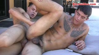 Muscled Latinos Fucking by the Pool