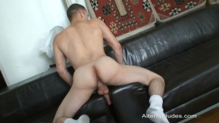 Uncut Surfer Humps the Couch