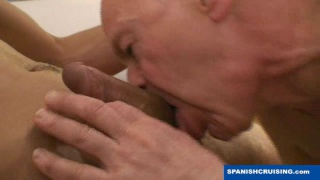 Granddad sucking on straight Latino guys cock