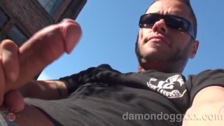 Damon Dogg jerks off on a roof top