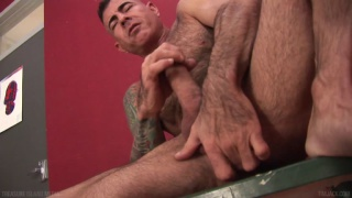 Hairy masculine porn star Nick Moretti masturbating