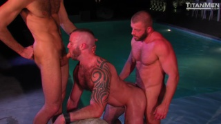 Justin King, Dario Beck & Hunter Marx Poolside threeway