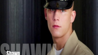 Blond military recruit Shawn strips naked