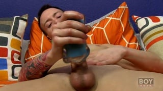 Chris Jett plays with toys on his swollen cock
