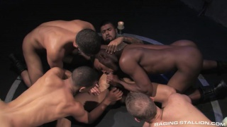 4 cocksuckers feast on a 10-inch dick
