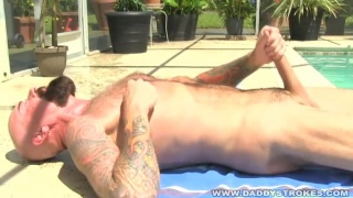 Hairy Bearded Daddy masturbate by the pool