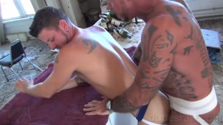 Ray Dalton and Christian Matthews fuck in dark abandoned building