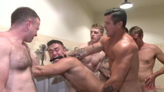 Bound to the urinals and fucked