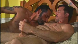 Bearded dude Andrew Adams licks ass