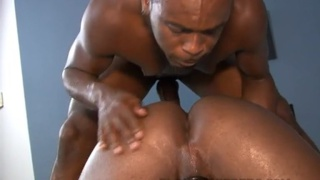 Two black guys in raunchy cum fuck