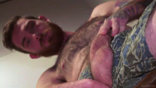 hot, bearded hairy Zach jerks off