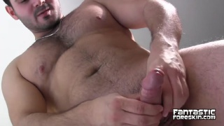 hot cub Leonardo jacks uncut cock