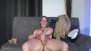 Tall angel-faced marine's hard dick