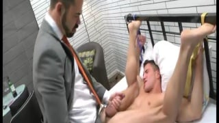 groom stripped naked and fucked by bearded man
