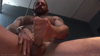 Hairy fucker Morgan Black jerking off
