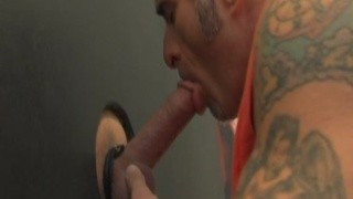 Tony Romano sucks cock at gloryhole