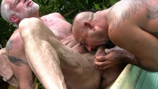 Bo Bangor and Jake Marshall outdoors