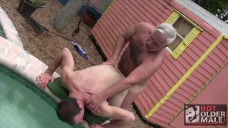 grey-haired daddy fucks furry dude