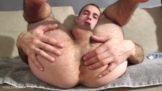 Furry twink Eddie White with 7-inch cock