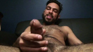 hairy masculine beast Billy Blanco jerks off