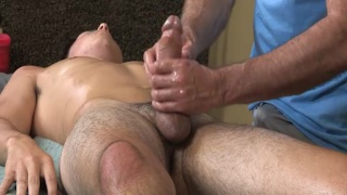 cole gets a massage and blowjob