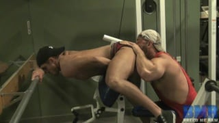 bottom gets an ass riding on the gym equipment