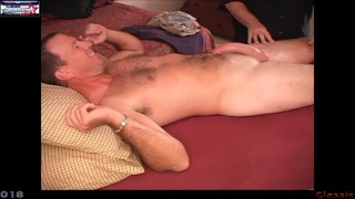 daddy gets his huge curved dick stroked