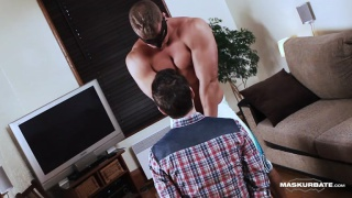 hunk handcuffs cocksucker and jacks off on him