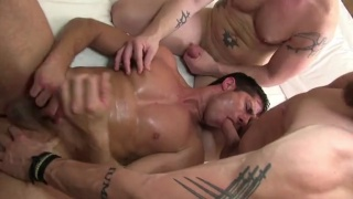 Dylan Saunders gang banged by scruffy tops