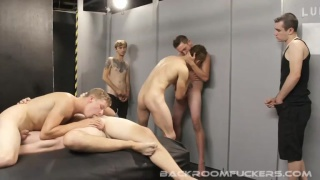 6 horny lads in a raw butt fucking orgy