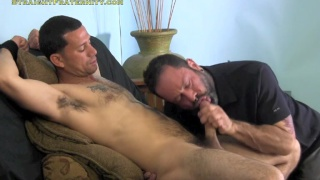 Well-hung, straight stud gets blowjob for money
