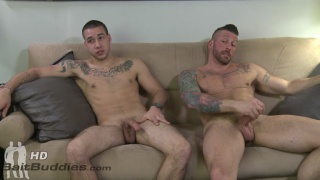 tattooed dude enticed by gay guy