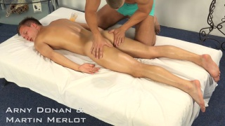 Martin gives Arny handjob on massage table
