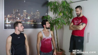 Felix Brazeau gives the orders to Mickelo Evans and Damien Hope