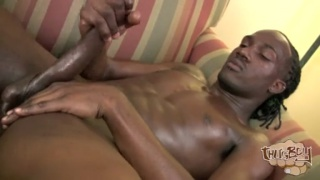 marcus strokes his long black cock