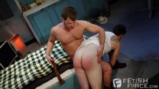 Brian Bonds spanks Jerek Miles bare ass
