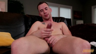 handsome twink strokes his enormous dick
