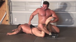 muscle hunk frank defoe wrestles with buddy