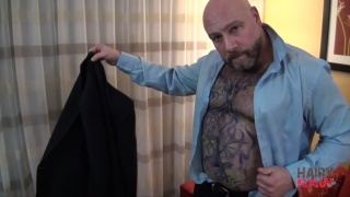 hairy bald daddy peels out of his suit