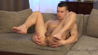 cute czech stud spreads his legs in the air
